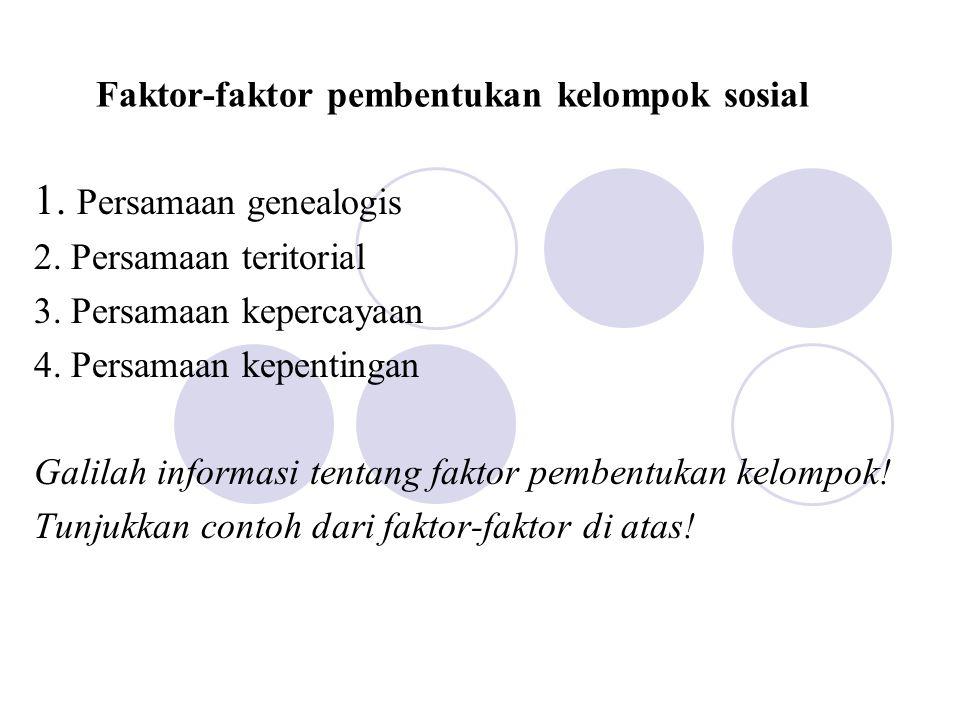 Faktor (lain) pembentukan kelompok 1.Kesadaran akan jenis yang sama 2.