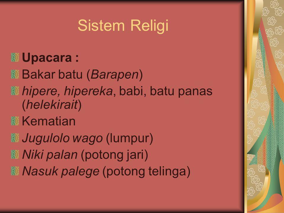 Sistem Religi Upacara : Bakar batu (Barapen) hipere, hipereka, babi, batu panas (helekirait) Kematian Jugulolo wago (lumpur) Niki palan (potong jari)