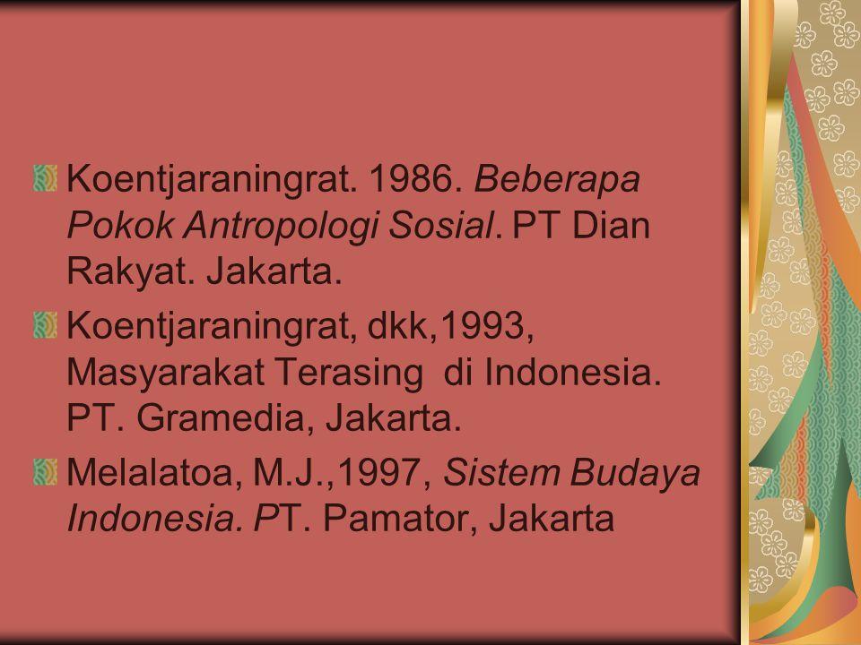Koentjaraningrat. 1986. Beberapa Pokok Antropologi Sosial. PT Dian Rakyat. Jakarta. Koentjaraningrat, dkk,1993, Masyarakat Terasing di Indonesia. PT.