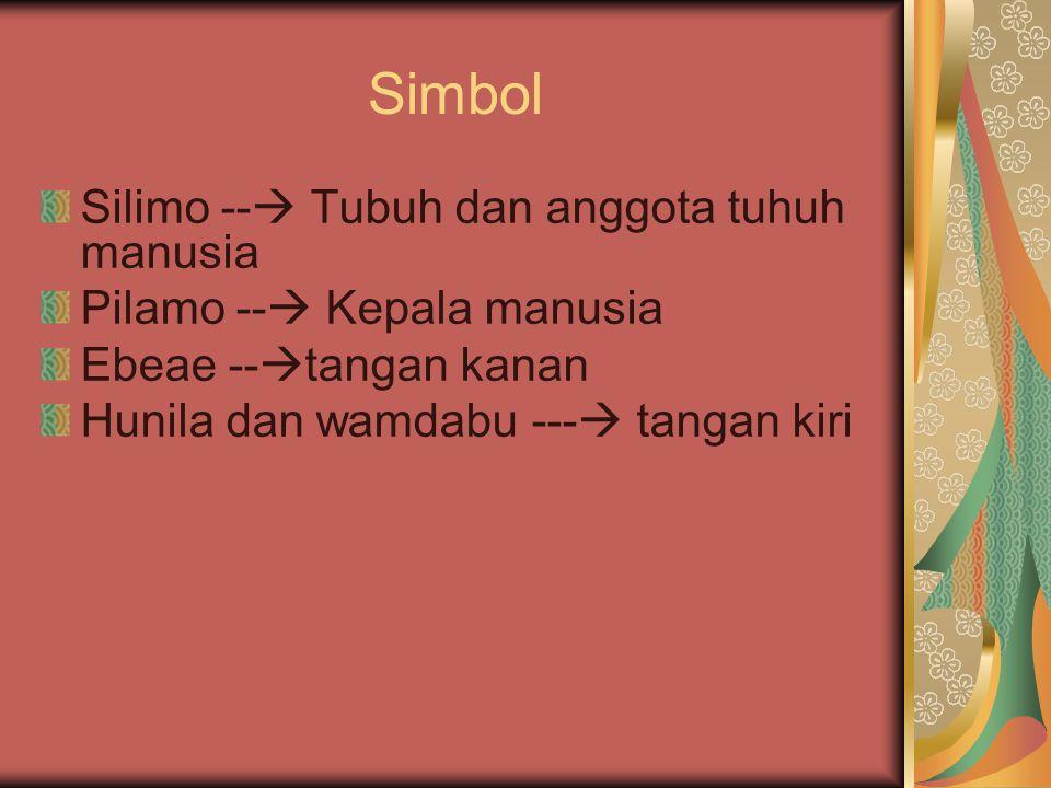 Simbol Silimo --  Tubuh dan anggota tuhuh manusia Pilamo --  Kepala manusia Ebeae --  tangan kanan Hunila dan wamdabu ---  tangan kiri
