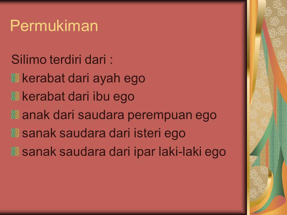 Permukiman Silimo terdiri dari : kerabat dari ayah ego kerabat dari ibu ego anak dari saudara perempuan ego sanak saudara dari isteri ego sanak saudar