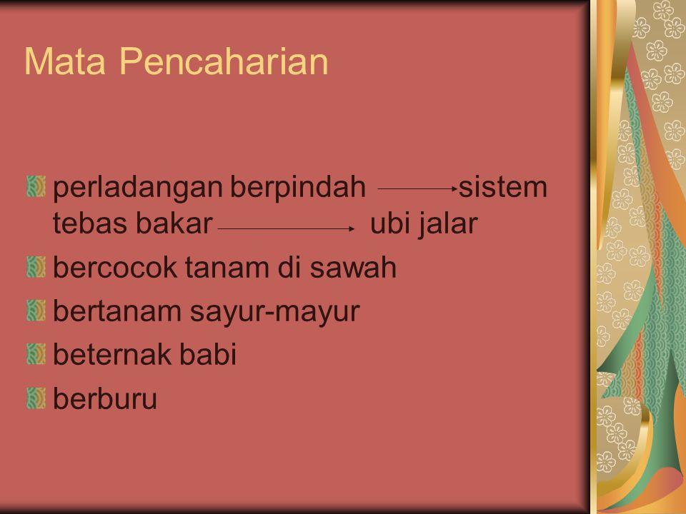 Sistem Religi Upacara bakar batu ( barapen) Upacara Apzawal (permohonan kesuburan tanah) Upacara Hiperekenma (upacara pemberantasan hama) Upacara Hipere Kaneke (syukuran)