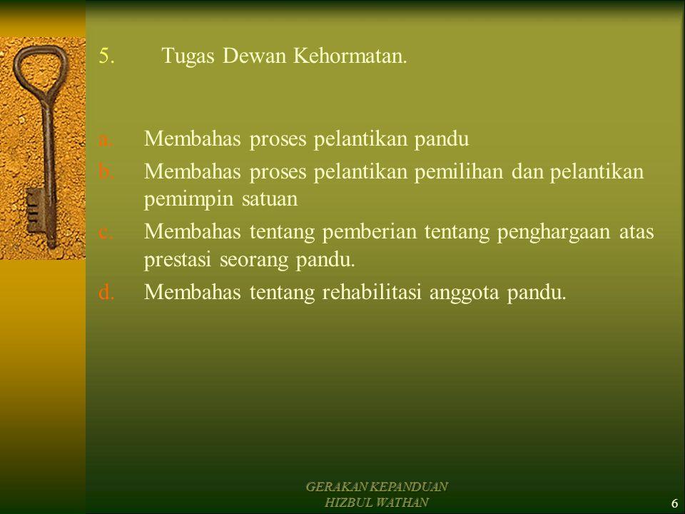 GERAKAN KEPANDUAN HIZBUL WATHAN5 II.Dewan Kehormatan Dalam Satuan HW 1.