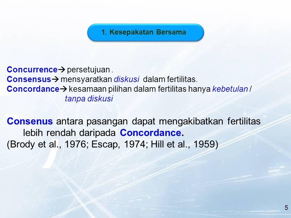 Concurrence  persetujuan. Consensus  mensyaratkan diskusi dalam fertilitas.