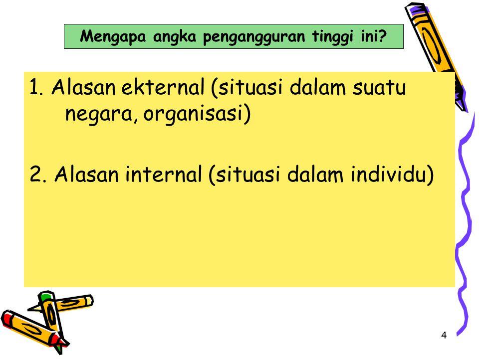 4 1. Alasan ekternal (situasi dalam suatu negara, organisasi) 2. Alasan internal (situasi dalam individu) Mengapa angka pengangguran tinggi ini?