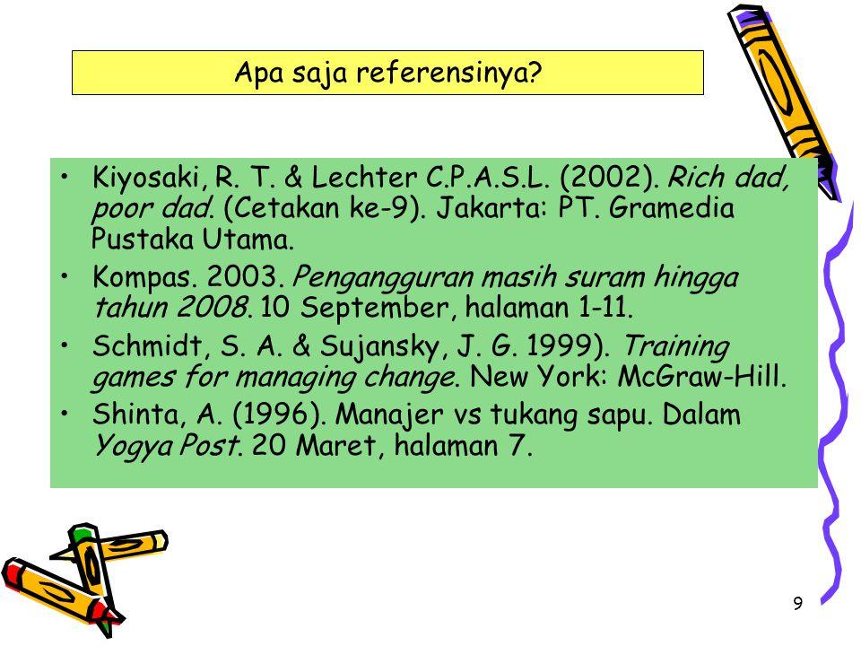 9 Kiyosaki, R. T. & Lechter C.P.A.S.L. (2002). Rich dad, poor dad. (Cetakan ke-9). Jakarta: PT. Gramedia Pustaka Utama. Kompas. 2003. Pengangguran mas