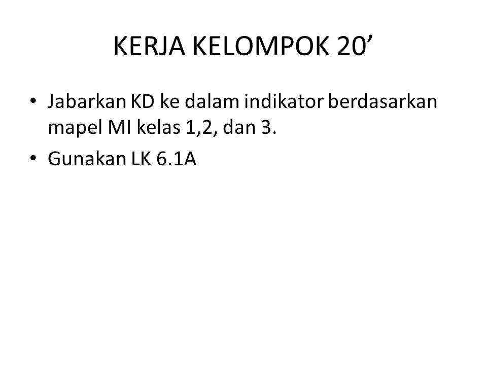KERJA KELOMPOK 20' Jabarkan KD ke dalam indikator berdasarkan mapel MI kelas 1,2, dan 3. Gunakan LK 6.1A