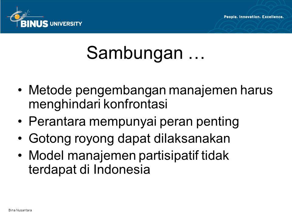 Bina Nusantara Sambungan … Metode pengembangan manajemen harus menghindari konfrontasi Perantara mempunyai peran penting Gotong royong dapat dilaksanakan Model manajemen partisipatif tidak terdapat di Indonesia