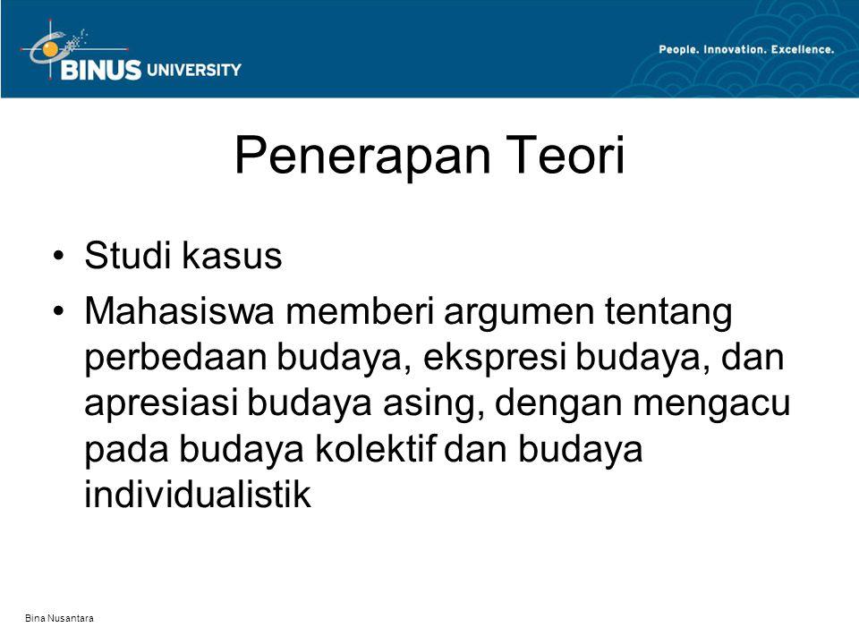 Bina Nusantara Penerapan Teori Studi kasus Mahasiswa memberi argumen tentang perbedaan budaya, ekspresi budaya, dan apresiasi budaya asing, dengan mengacu pada budaya kolektif dan budaya individualistik