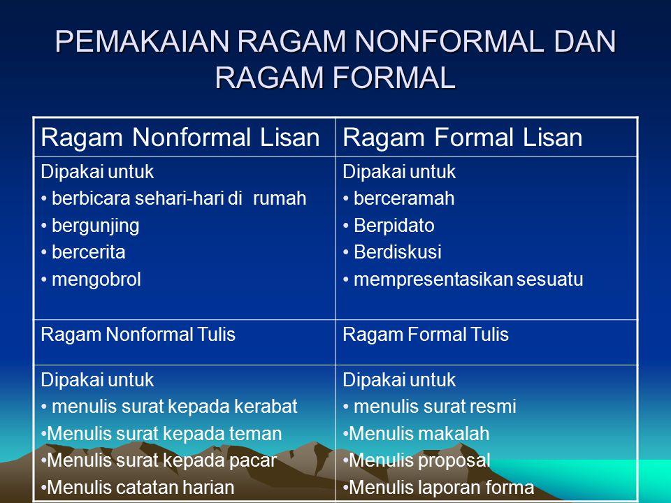 Bahasa Indonesia yang Baik dan Benar Bahasa yang baik adalah apabila maknanya dapat dipahami oleh komunikan dan ragamnya sesuai dengan situasi pada saat bahasa itu digunakan Bahasa yang benar adalah bahasa dengan ragam formal yang mengikuti kaidah bahasa baku.