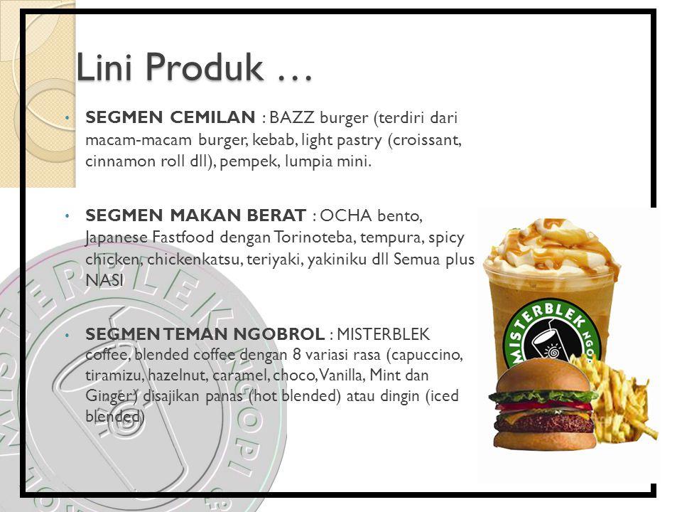 Lini Produk … SEGMEN CEMILAN : BAZZ burger (terdiri dari macam-macam burger, kebab, light pastry (croissant, cinnamon roll dll), pempek, lumpia mini.