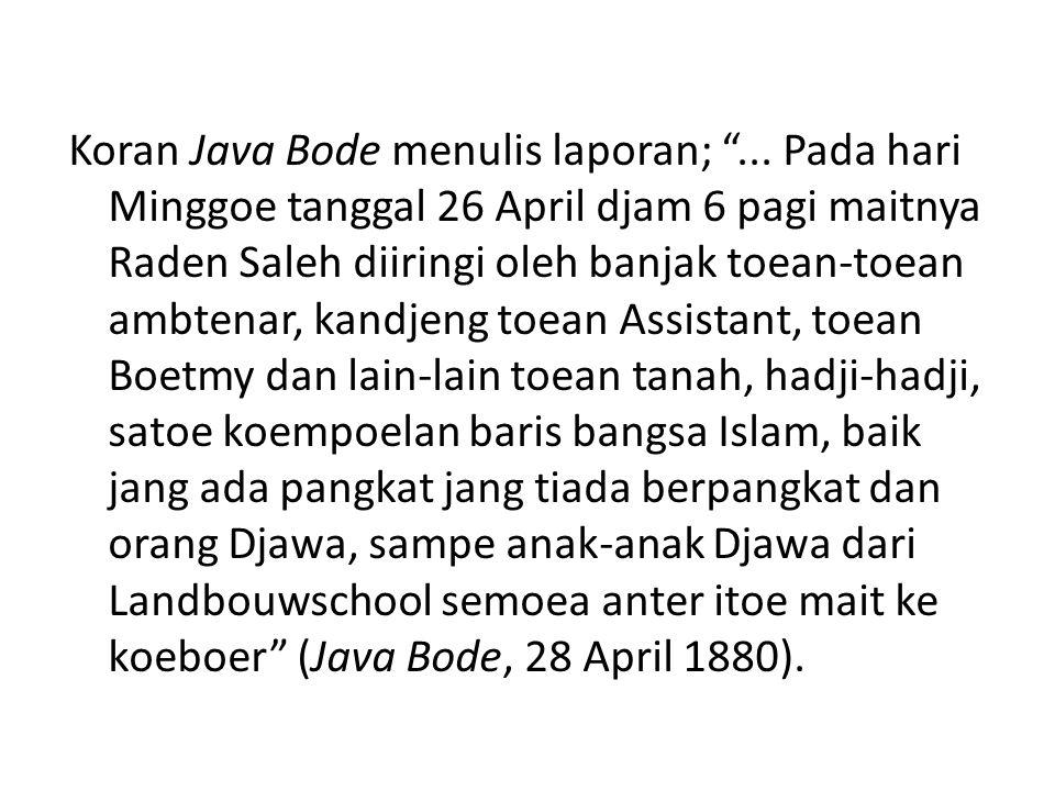 Reportase jurnalistik dari Java Bode (dan Hindia- Netherland) tentang meninggalnya RS merupakan penanda yang menarik terkait dengan posisi masa akhir kehidupan RS.