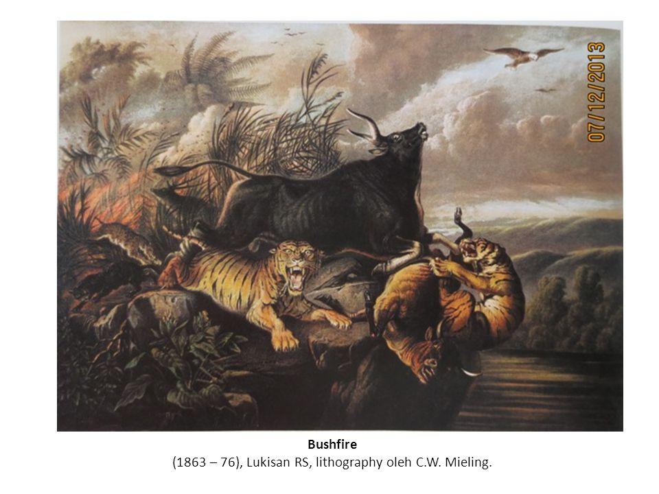 Bushfire (1863 – 76), Lukisan RS, lithography oleh C.W. Mieling.