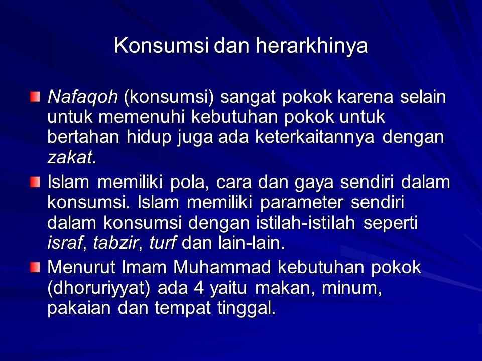 Perilaku Konsumsi Seorang Muslim Konsumen Muslim Non Muslim Membedakan antara Syahwat, Keinginan (wants) dan Kebutuhan (hajat) Tidak membedakan antara Syahwat, Keinginan (wants) dan Kebutuhan (hajat)