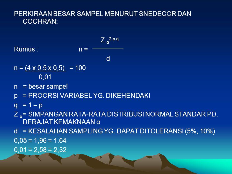 PERKIRAAN BESAR SAMPEL MENURUT SNEDECOR DAN COCHRAN: Z α 2 p.q Rumus : n = d n = (4 x 0,5 x 0,5) = 100 0,01 n = besar sampel p= PROORSI VARIABEL YG. D