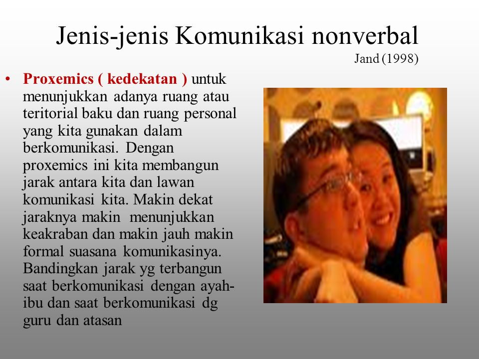 Jenis-jenis Komunikasi nonverbal Jand (1998) Proxemics ( kedekatan ) untuk menunjukkan adanya ruang atau teritorial baku dan ruang personal yang kita gunakan dalam berkomunikasi.
