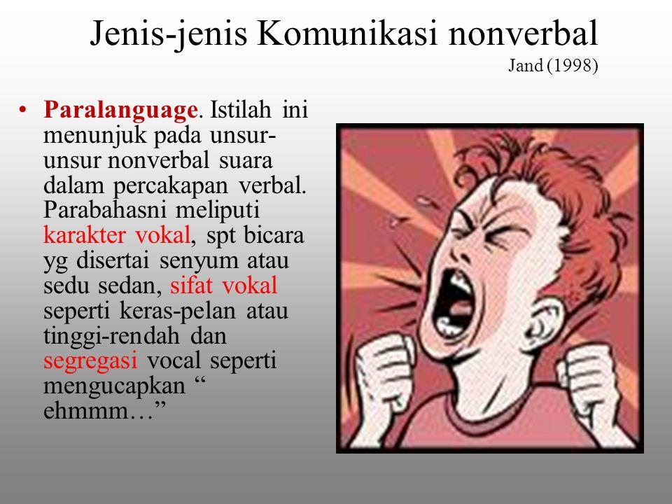 Jenis-jenis Komunikasi nonverbal Jand (1998) Paralanguage.