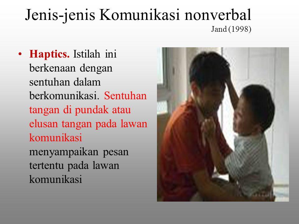 Jenis-jenis Komunikasi nonverbal Jand (1998) Haptics.