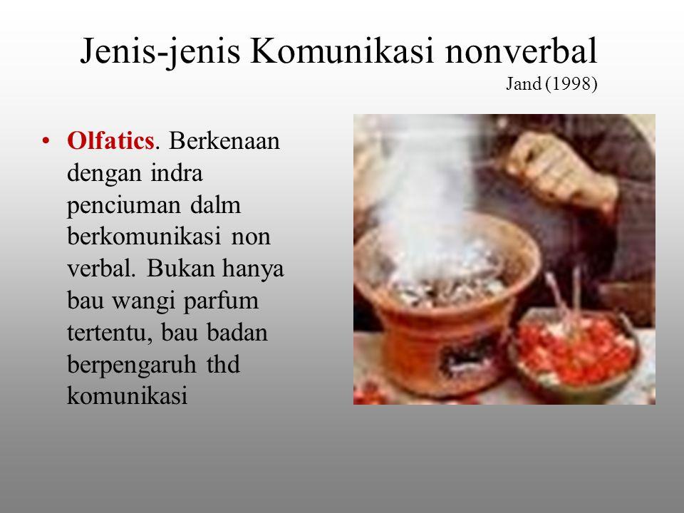 Jenis-jenis Komunikasi nonverbal Jand (1998) Olfatics.