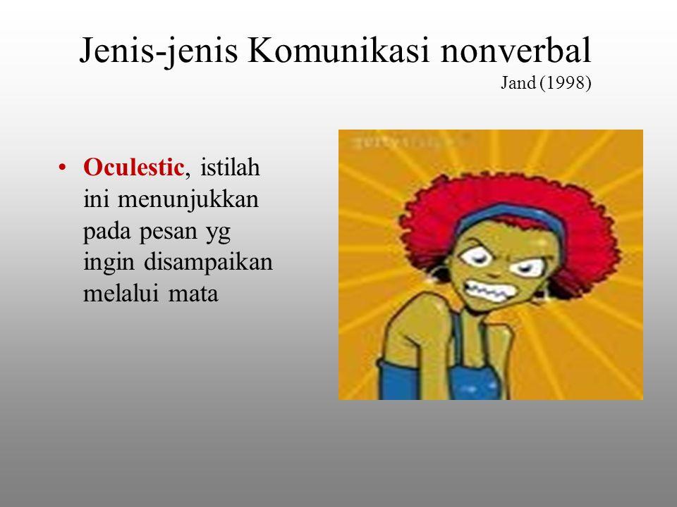 Jenis-jenis Komunikasi nonverbal Jand (1998) Oculestic, istilah ini menunjukkan pada pesan yg ingin disampaikan melalui mata