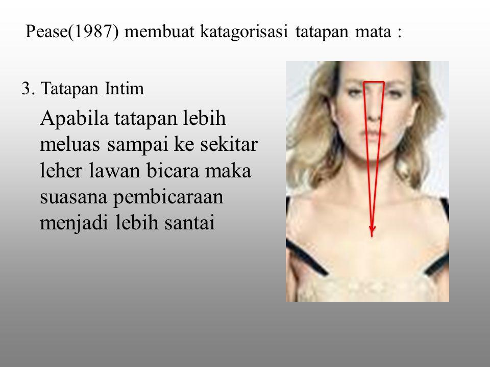 3. Tatapan Intim Apabila tatapan lebih meluas sampai ke sekitar leher lawan bicara maka suasana pembicaraan menjadi lebih santai Pease(1987) membuat k