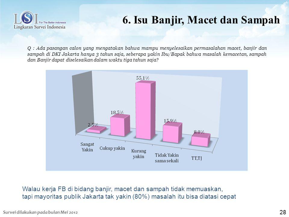 28 6. Isu Banjir, Macet dan Sampah Q : Ada pasangan calon yang mengatakan bahwa mampu menyelesaikan permasalahan macet, banjir dan sampah di DKI Jakar