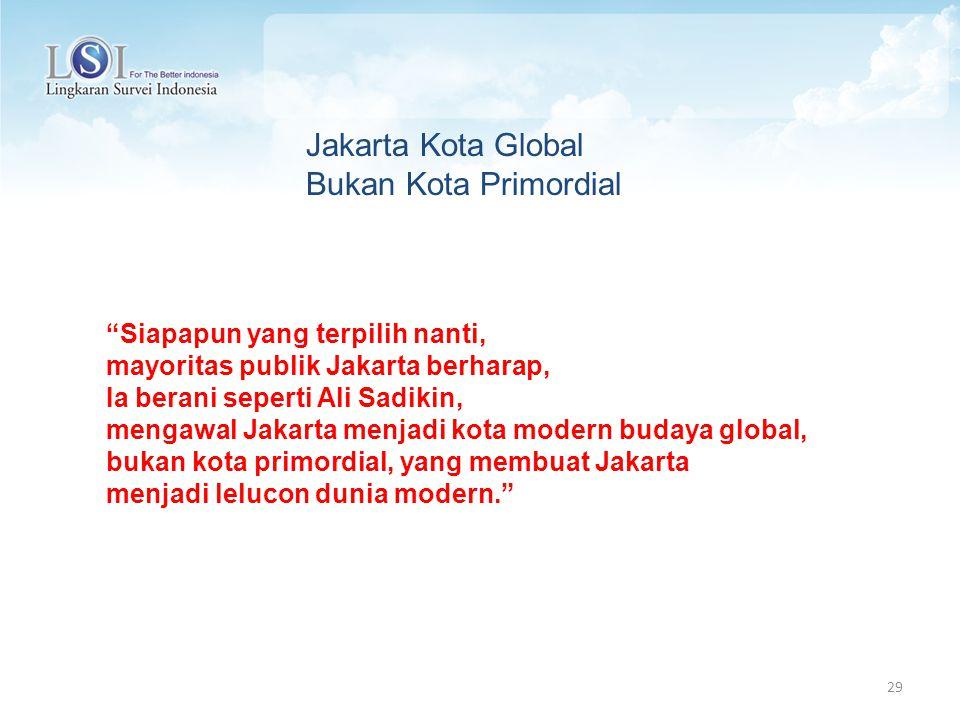 29 Siapapun yang terpilih nanti, mayoritas publik Jakarta berharap, Ia berani seperti Ali Sadikin, mengawal Jakarta menjadi kota modern budaya global, bukan kota primordial, yang membuat Jakarta menjadi lelucon dunia modern. Jakarta Kota Global Bukan Kota Primordial