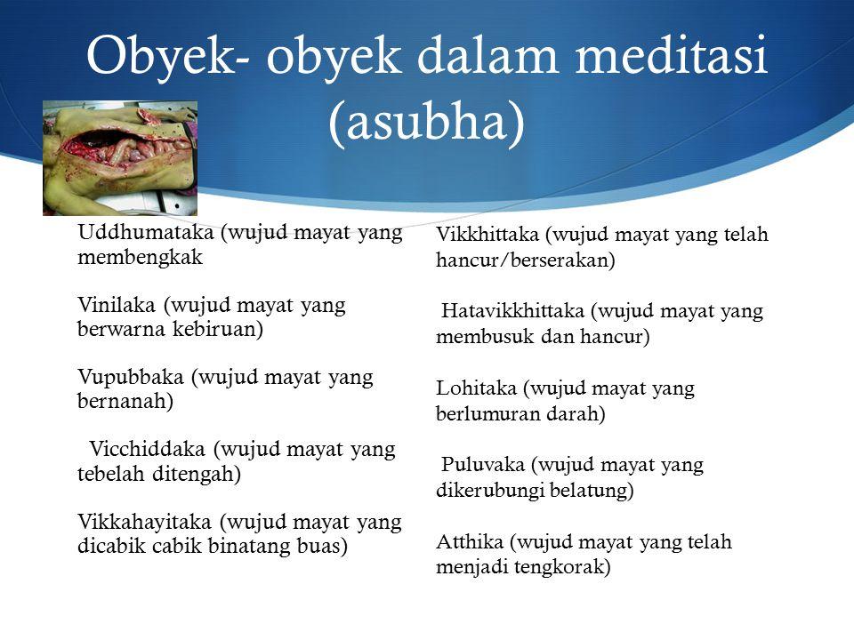 Obyek- obyek dalam meditasi (asubha) Uddhumataka (wujud mayat yang membengkak Vinilaka (wujud mayat yang berwarna kebiruan) Vupubbaka (wujud mayat yang bernanah) Vicchiddaka (wujud mayat yang tebelah ditengah) Vikkahayitaka (wujud mayat yang dicabik cabik binatang buas) Vikkhittaka (wujud mayat yang telah hancur/berserakan) Hatavikkhittaka (wujud mayat yang membusuk dan hancur) Lohitaka (wujud mayat yang berlumuran darah) Puluvaka (wujud mayat yang dikerubungi belatung) Atthika (wujud mayat yang telah menjadi tengkorak)