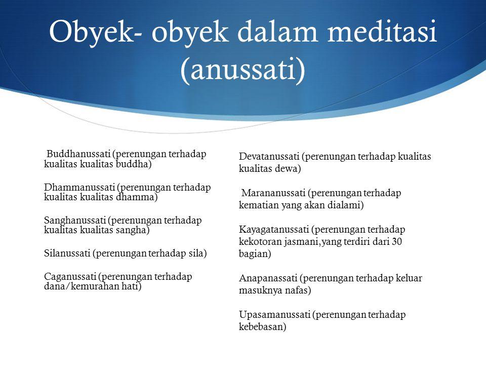 Obyek- obyek dalam meditasi (anussati) Buddhanussati (perenungan terhadap kualitas kualitas buddha) Dhammanussati (perenungan terhadap kualitas kualitas dhamma) Sanghanussati (perenungan terhadap kualitas kualitas sangha) Silanussati (perenungan terhadap sila) Caganussati (perenungan terhadap dana/kemurahan hati) Devatanussati (perenungan terhadap kualitas kualitas dewa) Marananussati (perenungan terhadap kematian yang akan dialami) Kayagatanussati (perenungan terhadap kekotoran jasmani,yang terdiri dari 30 bagian) Anapanassati (perenungan terhadap keluar masuknya nafas) Upasamanussati (perenungan terhadap kebebasan)
