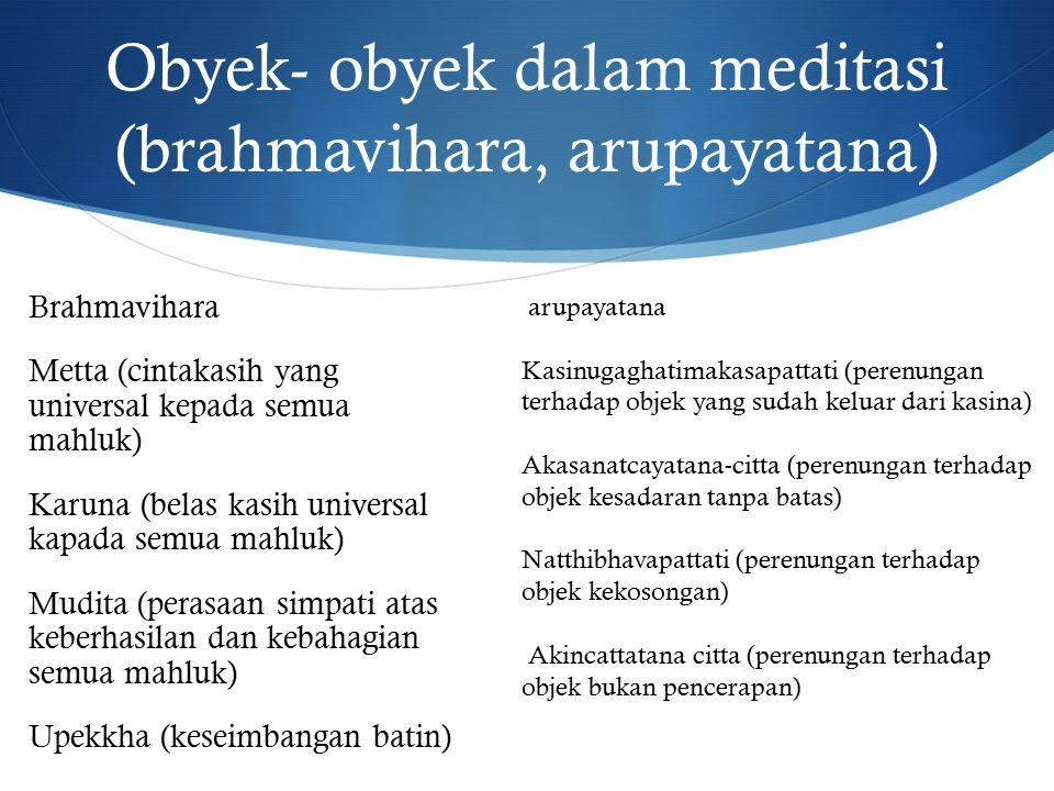 Obyek- obyek dalam meditasi (brahmavihara, arupayatana) Brahmavihara Metta (cintakasih yang universal kepada semua mahluk) Karuna (belas kasih universal kapada semua mahluk) Mudita (perasaan simpati atas keberhasilan dan kebahagian semua mahluk) Upekkha (keseimbangan batin) arupayatana Kasinugaghatimakasapattati (perenungan terhadap objek yang sudah keluar dari kasina) Akasanatcayatana-citta (perenungan terhadap objek kesadaran tanpa batas) Natthibhavapattati (perenungan terhadap objek kekosongan) Akincattatana citta (perenungan terhadap objek bukan pencerapan)