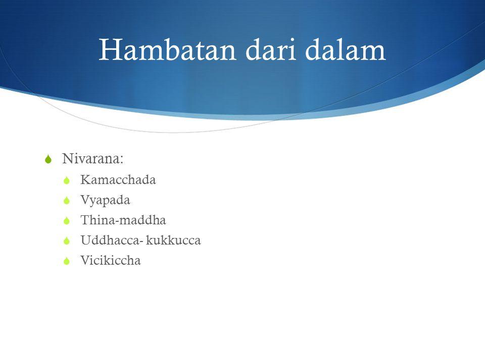 Hambatan dari dalam  Nivarana:  Kamacchada  Vyapada  Thina-maddha  Uddhacca- kukkucca  Vicikiccha