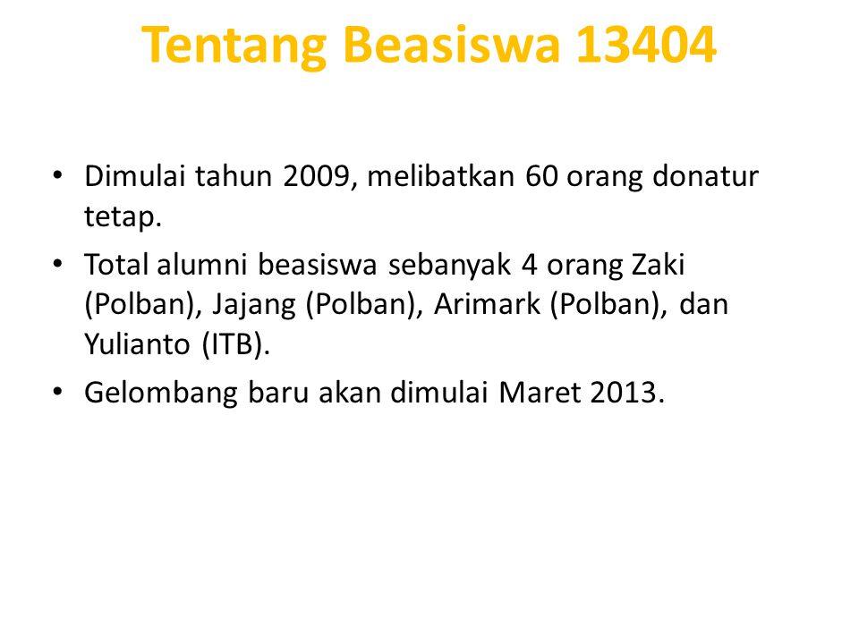 Dimulai tahun 2009, melibatkan 60 orang donatur tetap. Total alumni beasiswa sebanyak 4 orang Zaki (Polban), Jajang (Polban), Arimark (Polban), dan Yu