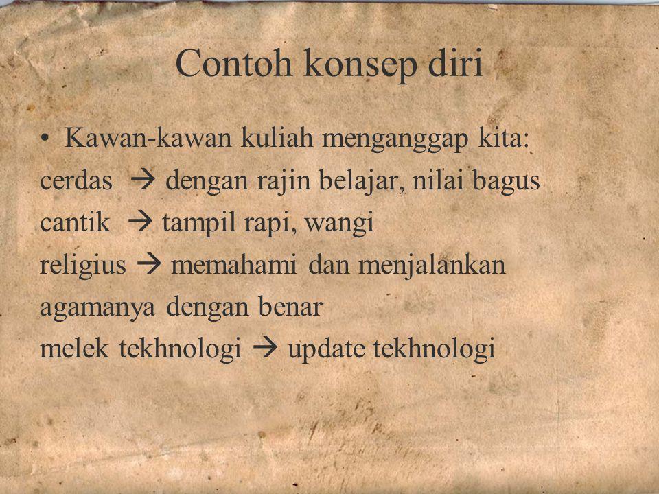 Contoh konsep diri Kawan-kawan kuliah menganggap kita: cerdas  dengan rajin belajar, nilai bagus cantik  tampil rapi, wangi religius  memahami dan menjalankan agamanya dengan benar melek tekhnologi  update tekhnologi