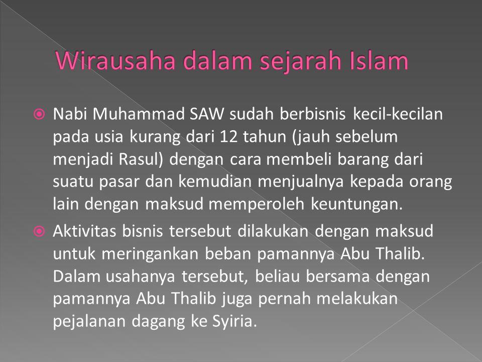  Nabi Muhammad SAW sudah berbisnis kecil-kecilan pada usia kurang dari 12 tahun (jauh sebelum menjadi Rasul) dengan cara membeli barang dari suatu pa