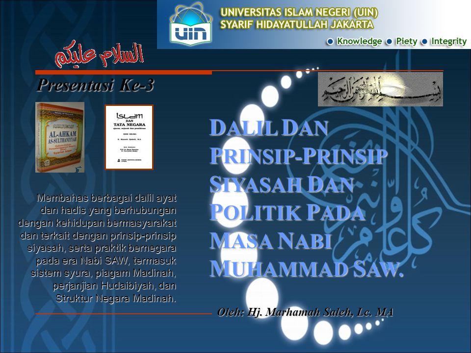 Presentasi Ke-3 Oleh: Hj.Marhamah Saleh, Lc.
