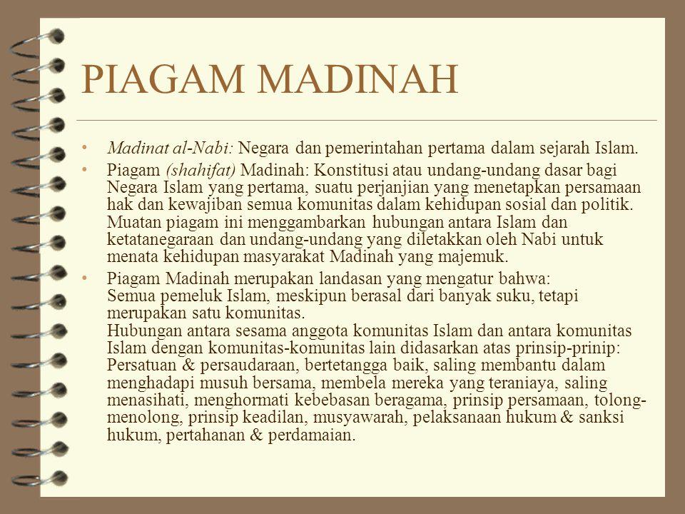 PIAGAM MADINAH Madinat al-Nabi: Negara dan pemerintahan pertama dalam sejarah Islam.