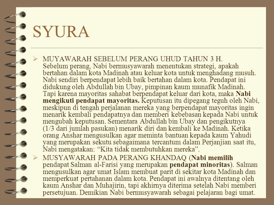 SYURA  MUYAWARAH SEBELUM PERANG UHUD TAHUN 3 H.