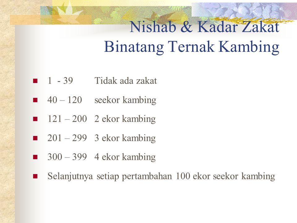 Nishab & Kadar Zakat Binatang Ternak Sapi 1 - 29 Tidak ada zakat 30 – 39 anak sapi 40 – 59 sapi satu tahun 60 – 69 sapi usia 2 tahun 70 – 79 2 ekor an