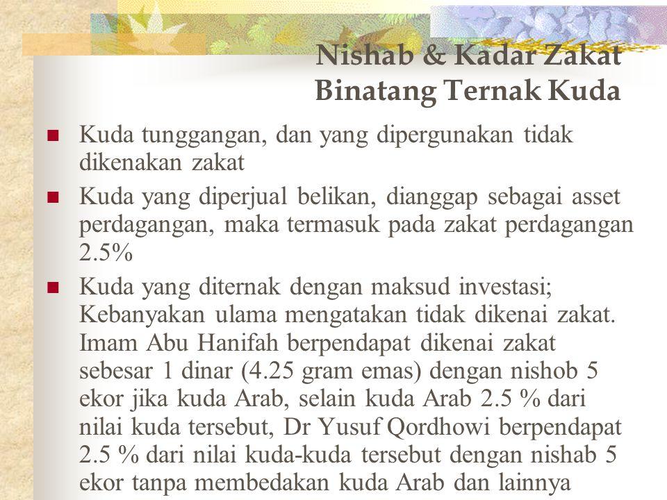 Nishab & Kadar Zakat Binatang Ternak Kambing 1 - 39 Tidak ada zakat 40 – 120 seekor kambing 121 – 200 2 ekor kambing 201 – 299 3 ekor kambing 300 – 39