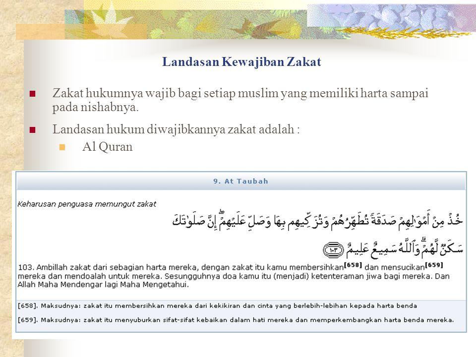 Landasan Kewajiban Zakat Zakat hukumnya wajib bagi setiap muslim yang memiliki harta sampai pada nishabnya.