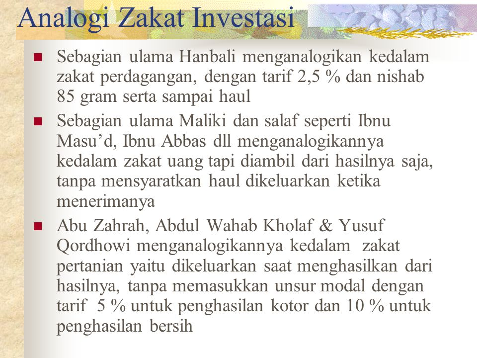 "Zakat Investasi Zakat Investasi dalam istilah fiqh biasa disebut Zakat ""Almustaghillat"" atau Al maal almustafaad Zakat tersebut dikenakan terhadap har"
