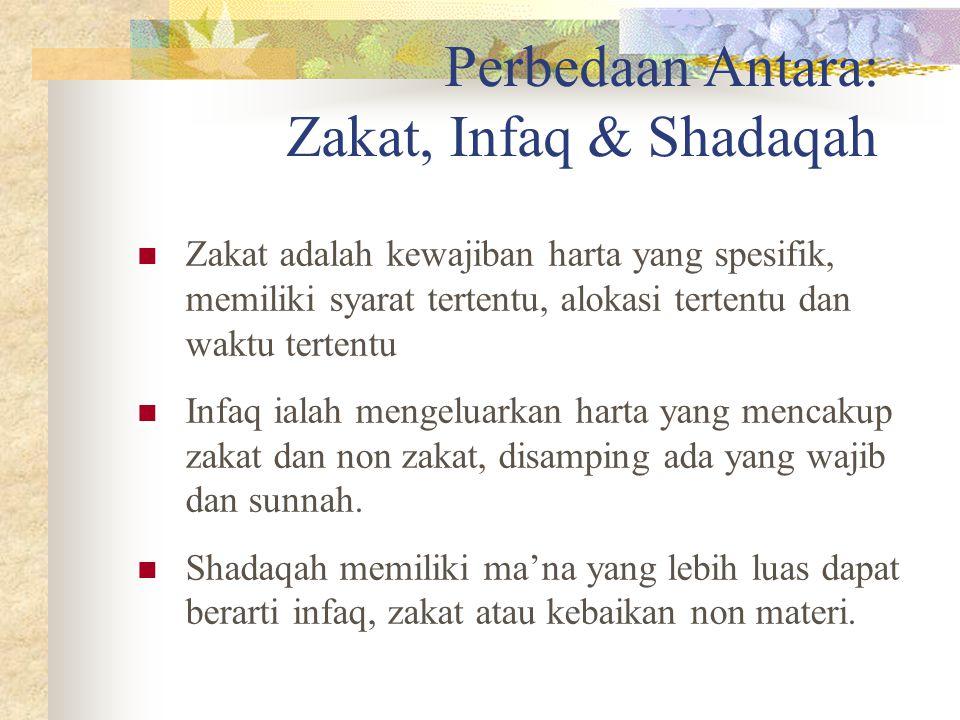 Perbedaan Antara: Zakat, Infaq & Shadaqah Zakat adalah kewajiban harta yang spesifik, memiliki syarat tertentu, alokasi tertentu dan waktu tertentu Infaq ialah mengeluarkan harta yang mencakup zakat dan non zakat, disamping ada yang wajib dan sunnah.