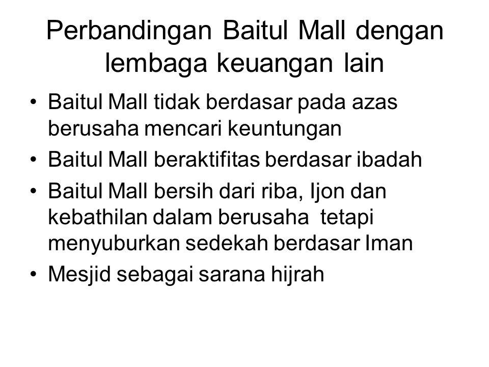 Perbandingan Baitul Mall dengan lembaga keuangan lain Baitul Mall tidak berdasar pada azas berusaha mencari keuntungan Baitul Mall beraktifitas berdas