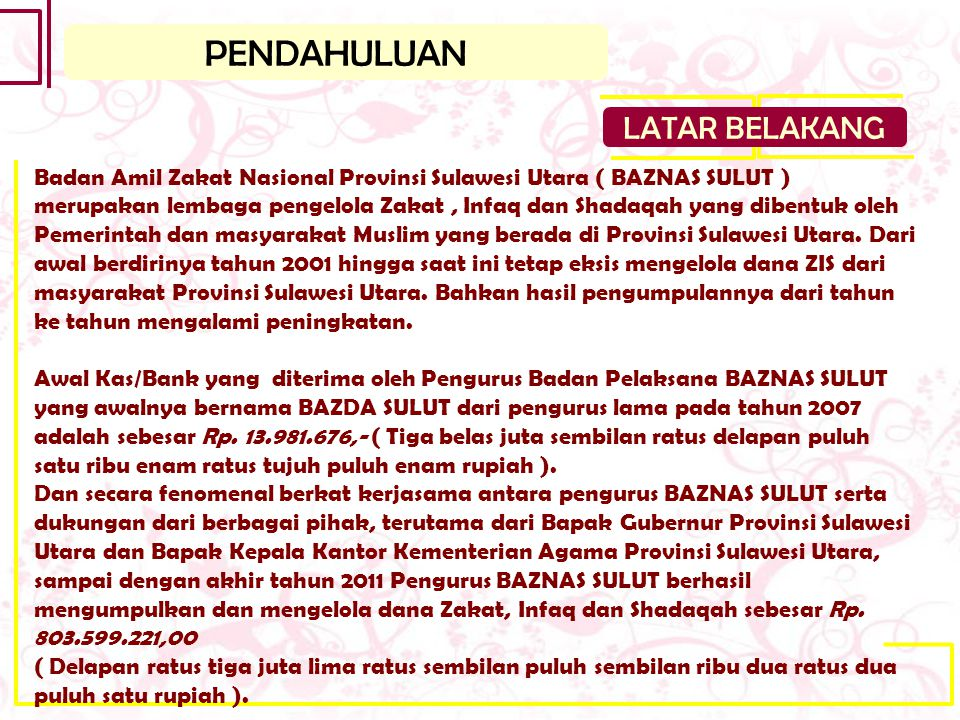 PENDAHULUAN LATAR BELAKANG Badan Amil Zakat Nasional Provinsi Sulawesi Utara ( BAZNAS SULUT ) merupakan lembaga pengelola Zakat, Infaq dan Shadaqah ya