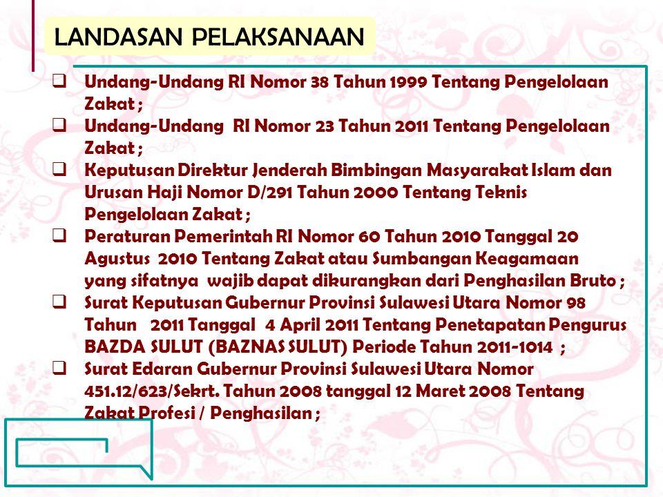 LANDASAN PELAKSANAAN  Undang-Undang RI Nomor 38 Tahun 1999 Tentang Pengelolaan Zakat ;  Undang-Undang RI Nomor 23 Tahun 2011 Tentang Pengelolaan Zak