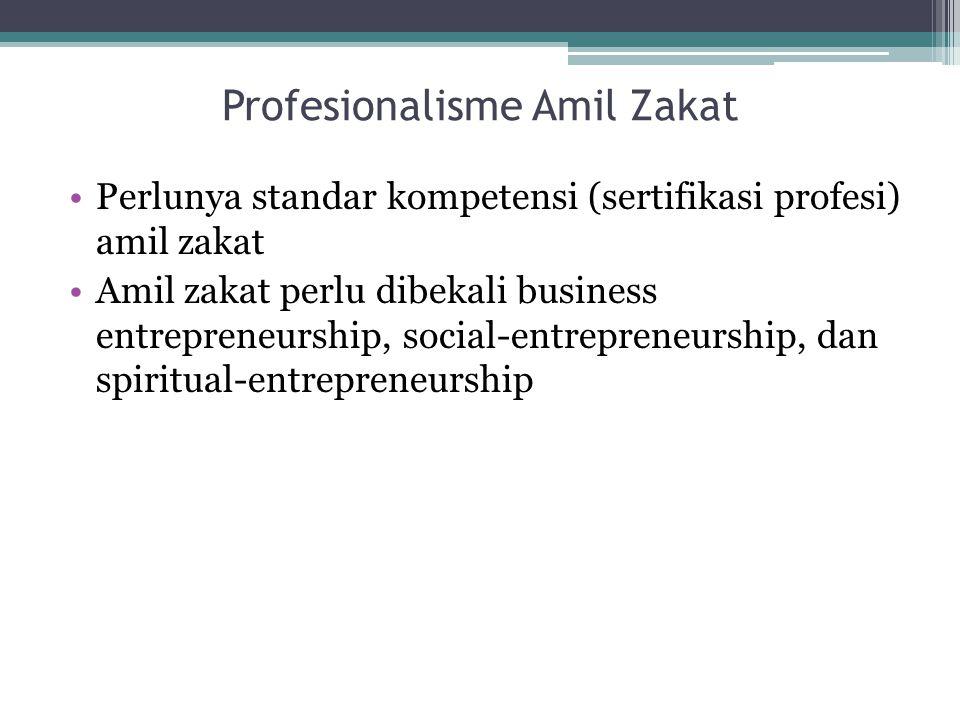 Profesionalisme Amil Zakat Perlunya standar kompetensi (sertifikasi profesi) amil zakat Amil zakat perlu dibekali business entrepreneurship, social-en