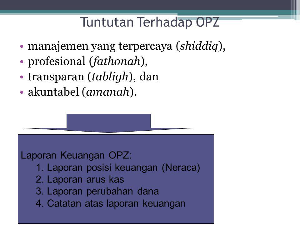 Tuntutan Terhadap OPZ manajemen yang terpercaya (shiddiq), profesional (fathonah), transparan (tabligh), dan akuntabel (amanah). Laporan Keuangan OPZ: