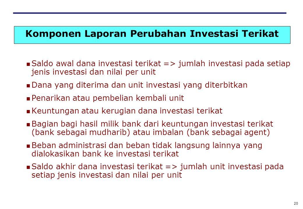 19 Laporan Perubahan Dana Investasi terikat Memisahkan dana investasi terikat berdasarkan sumber dana dan memisahkan investasi berdasarkan jenisnya