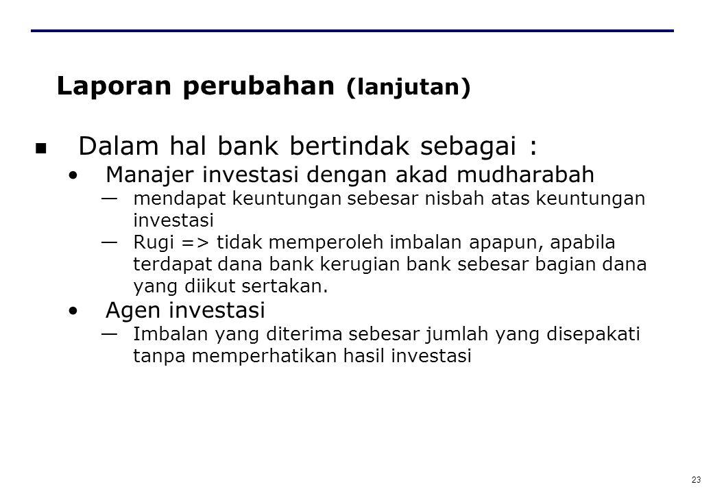 22 Laporan perubahan (lanjutan) Dana pemilik investasi : Yang diserahkan => dana yang diterima bank sebagai manajer investasi atau agen investasi yang disepakati untuk diinvestasikan oleh bank sebagai mudharin maupun sebagai agent investasi.
