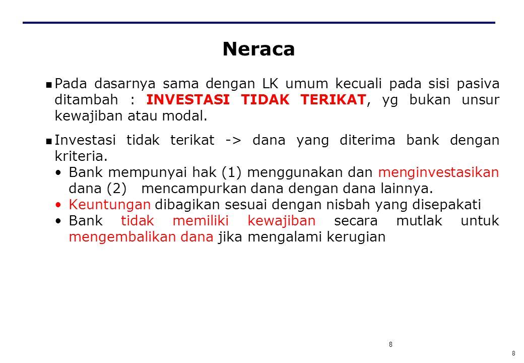 8 Neraca Pada dasarnya sama dengan LK umum kecuali pada sisi pasiva ditambah : INVESTASI TIDAK TERIKAT, yg bukan unsur kewajiban atau modal.